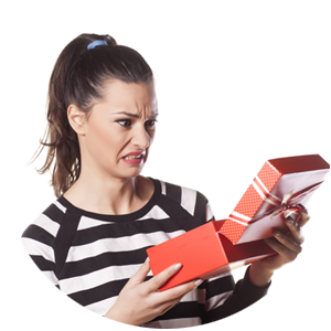 Woman looking at a bad gift