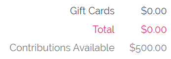 Gift card totals