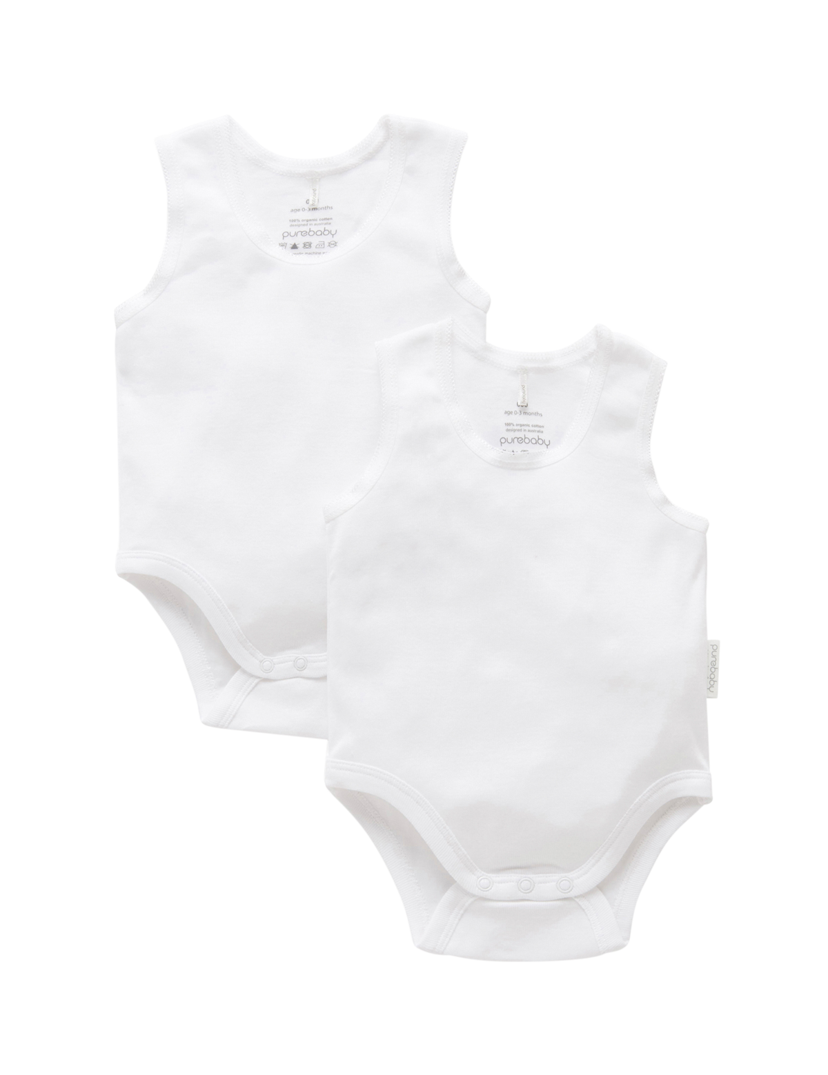 Pure Baby Ribbed Body Suit (2 Pack