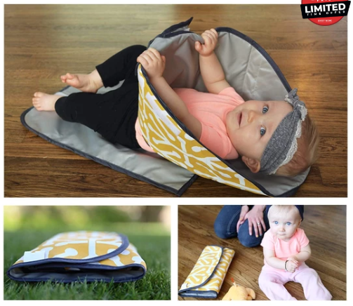 Little Clean Bums 3 in 1 Waterproof Potable Baby Changing Mat, Diaper Clutch & Nappy Changing Station $25