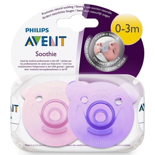 Avent Soothie Bear 0-3m 2pk - Pink/Purple