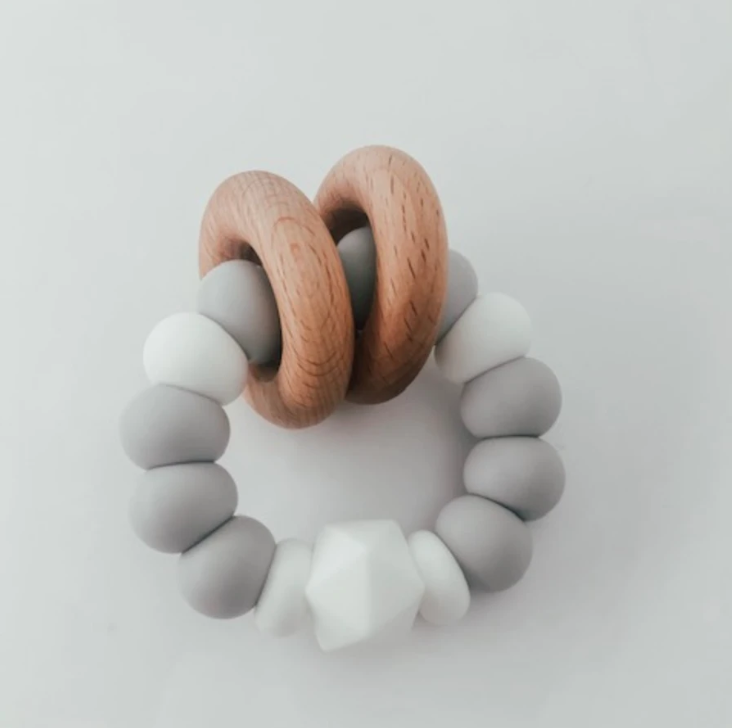 Mini Heritage Pretty Please Nora Silicone + Wood Rattle Teether $25