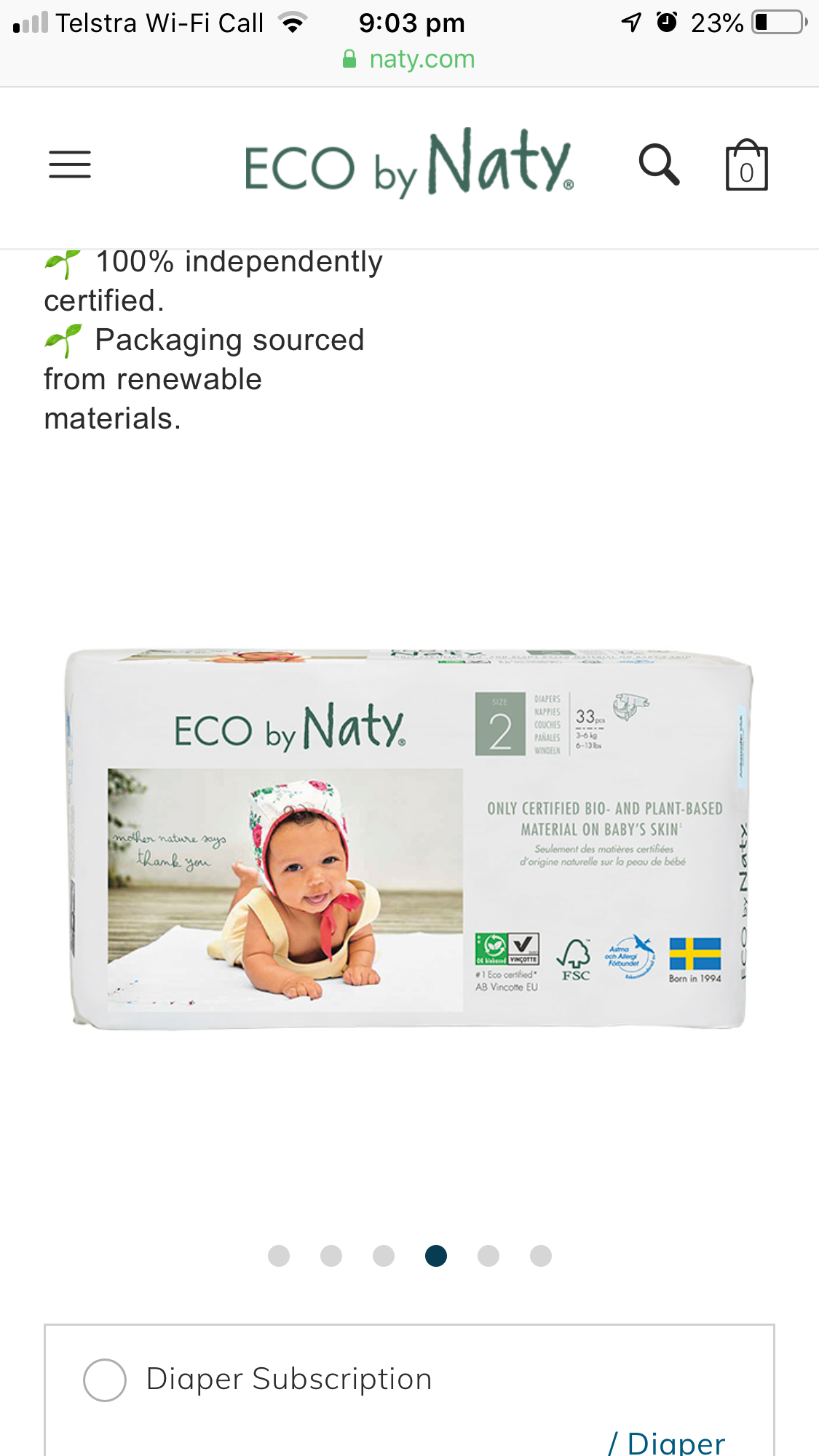 Eco by Naty Baby Nappies Size 2 Pack 33 $23.00