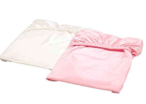 LEN Fitted sheet white + pink