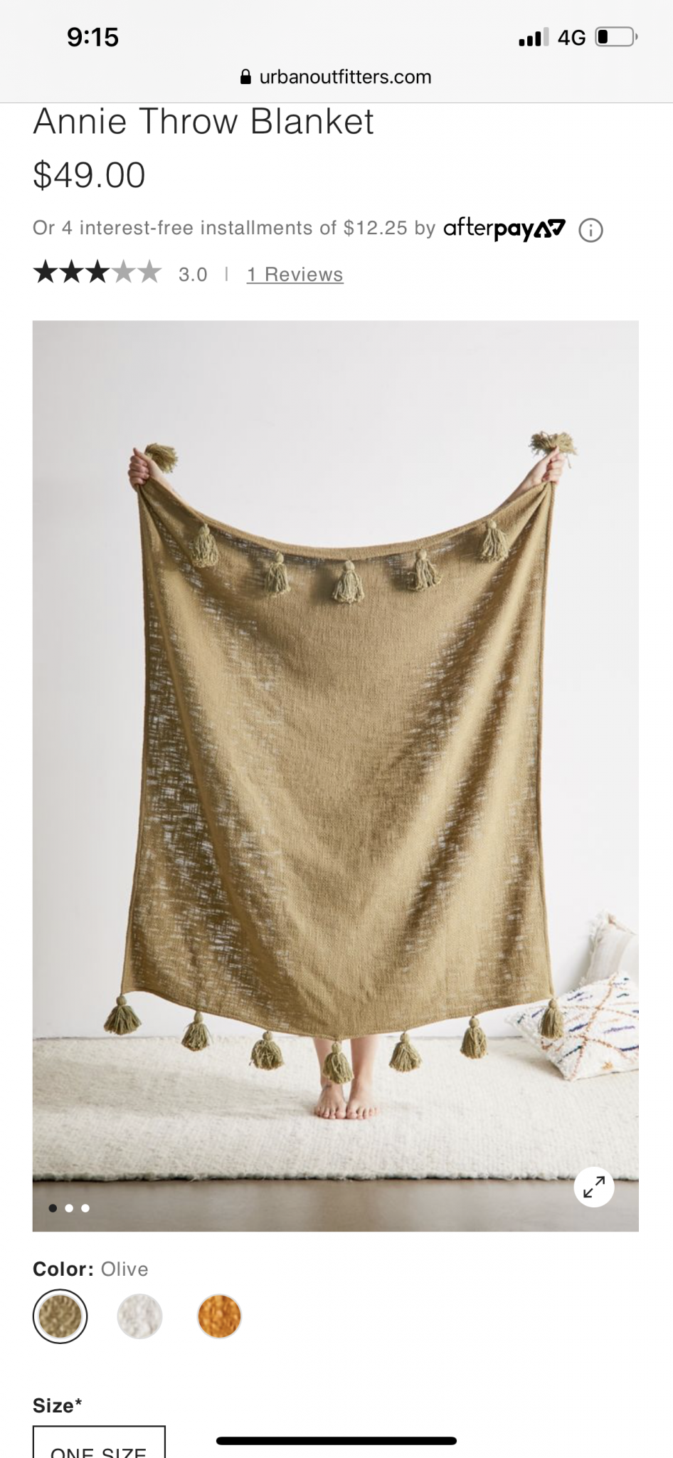 Throw Rug (Golden Olive with Tassles)