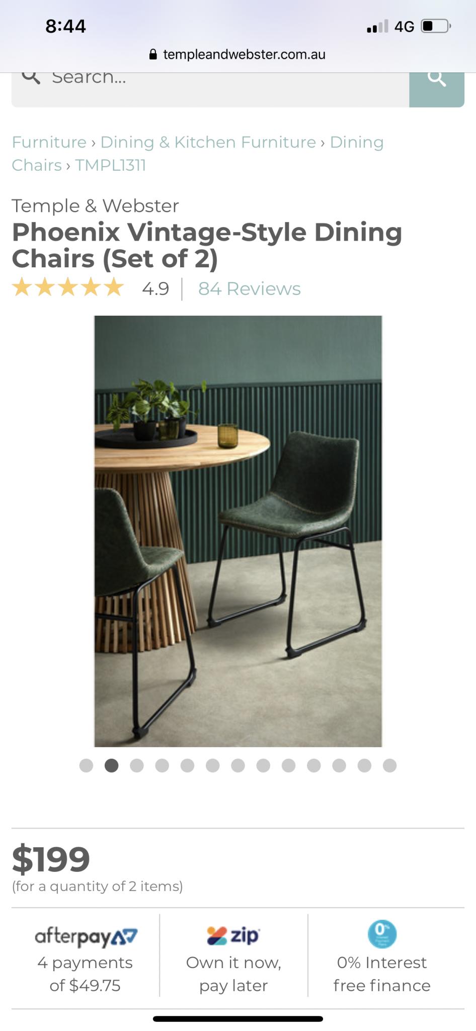 Vintage Style Green Dining Chair Velvet