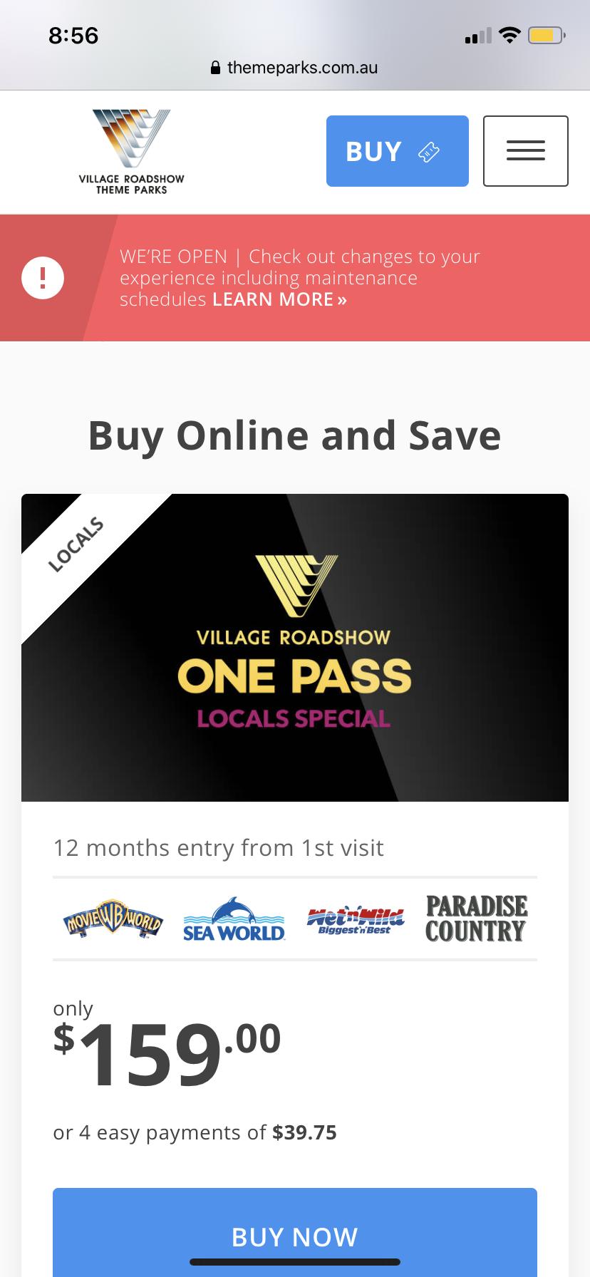 Theme Park Pass (2 adults)