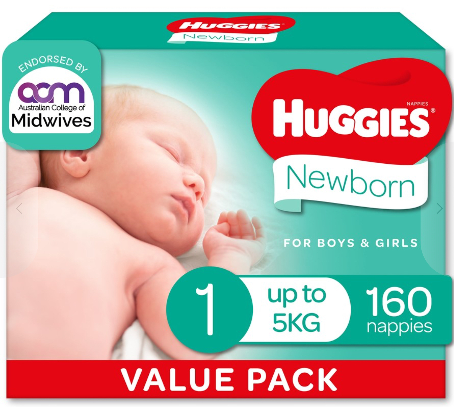 Huggies Ultimate Mega Nappies Size 1 Newborn (up to 5kg) - 160 Pack