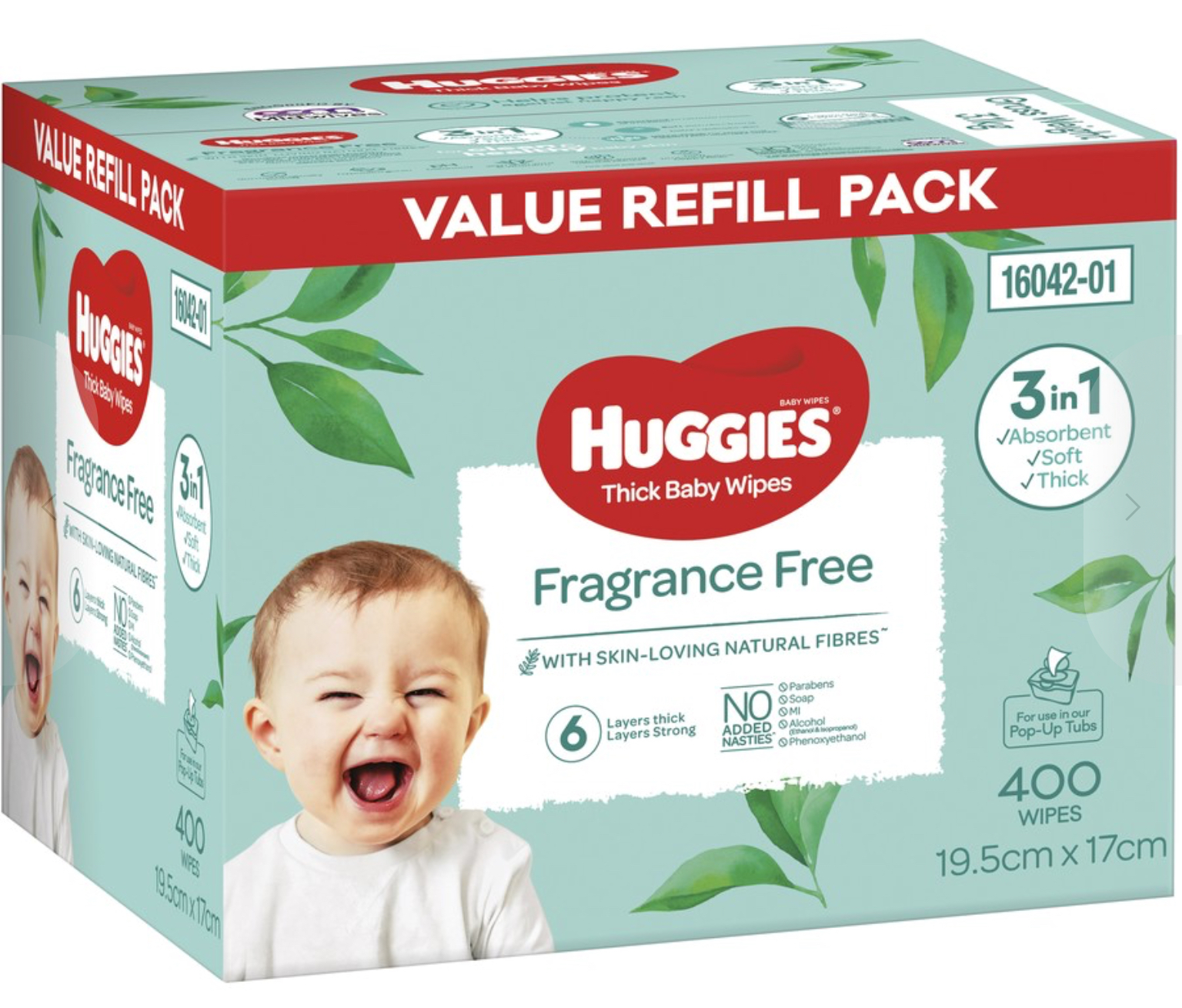 Huggies Thick & Soft Baby Wipes Fragrance-Free 400 Pack