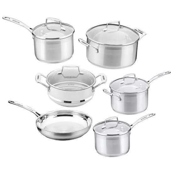 5-6 piece scan pan or bacarrat set stainless steel