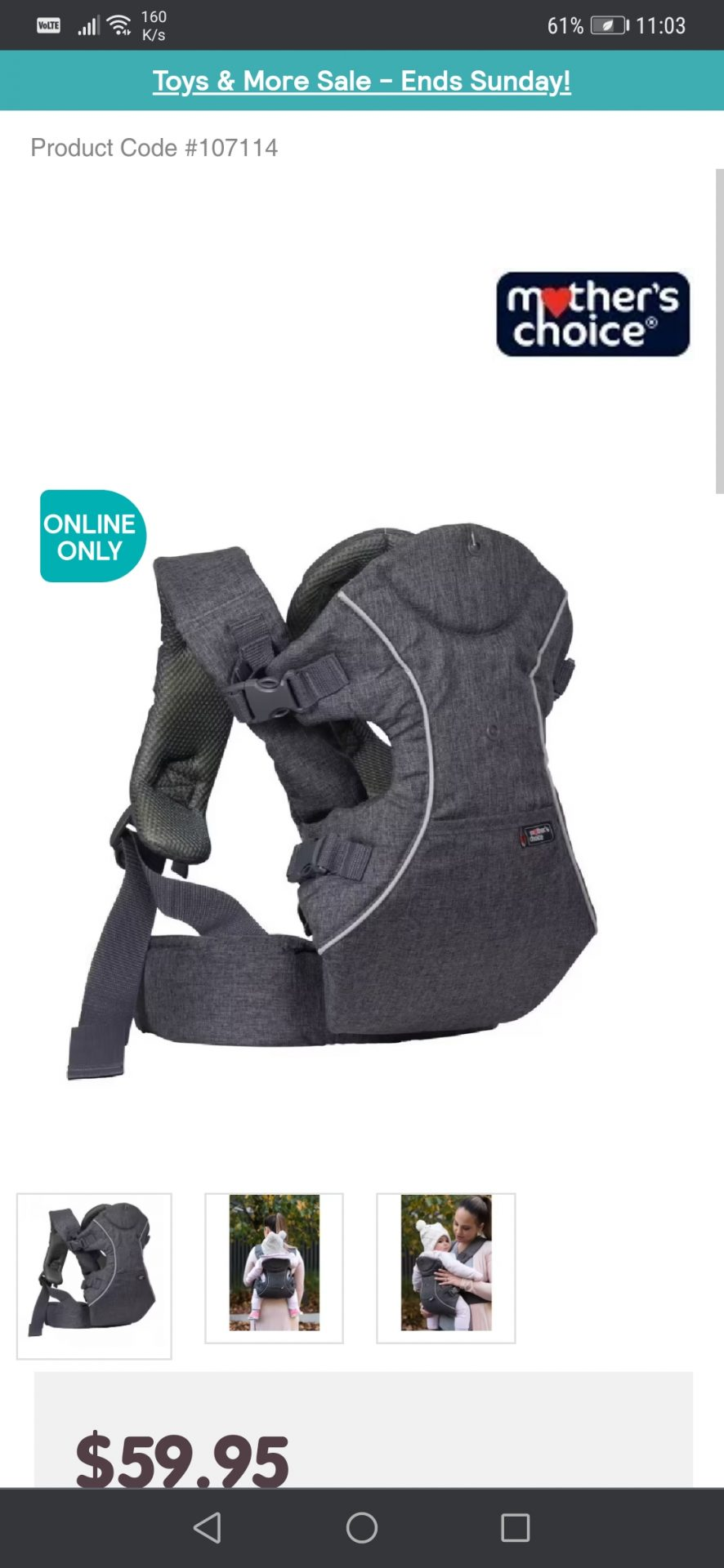 Mother's choice baby carrier