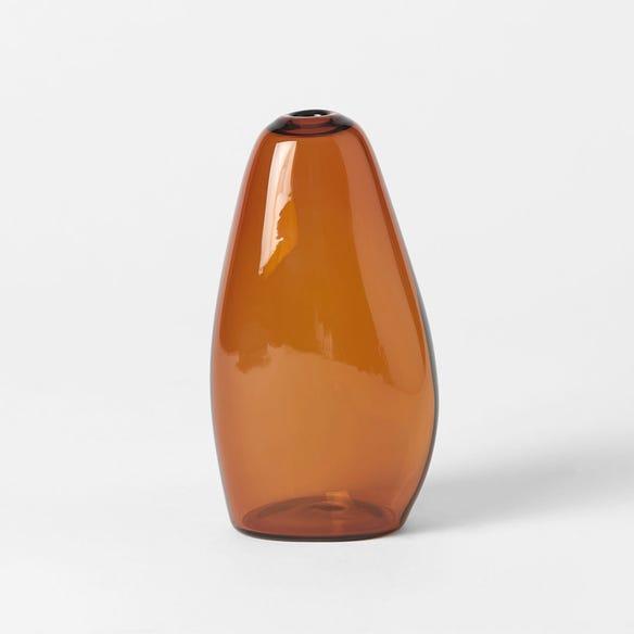PEBBLE STONE SHAPED GLASS VASE - AMBER