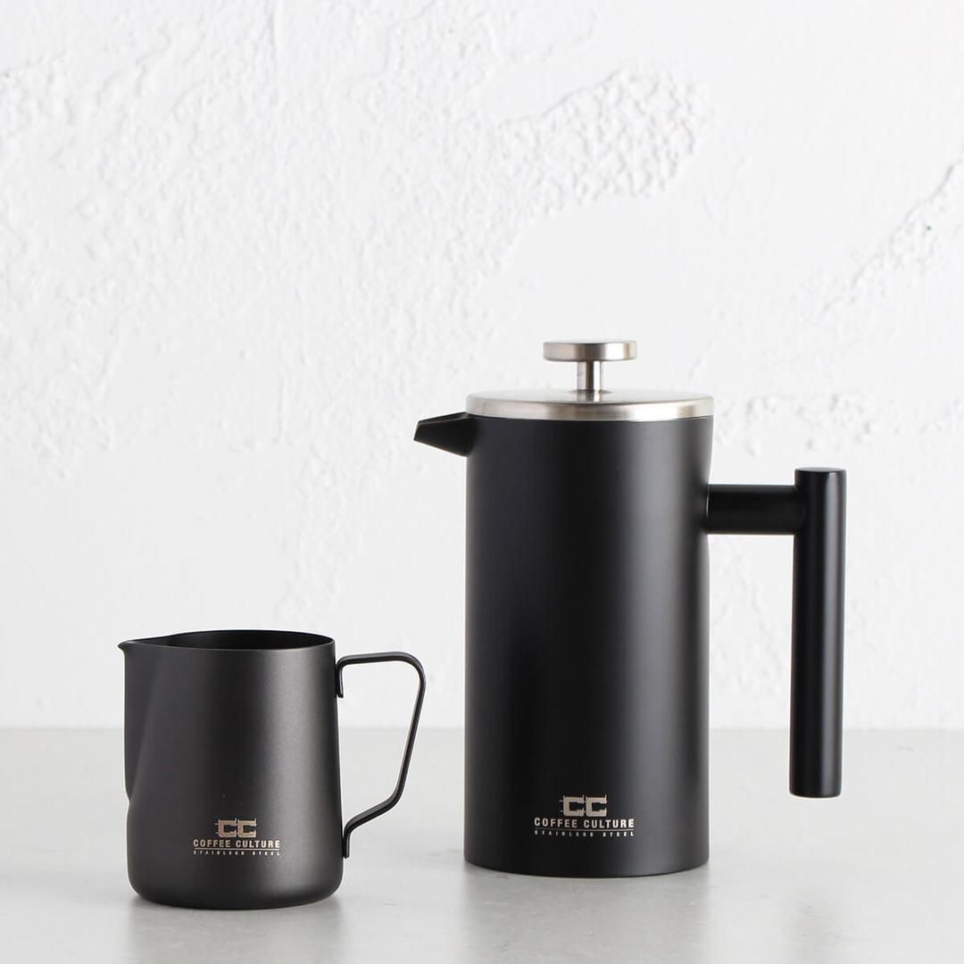 COFFEE PLUNGER + MILK FROTHING JUG | BUNDLE | MATTE BLACK