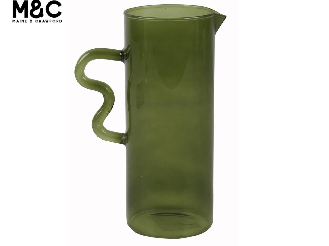 Maine & Crawford 20x8cm Rascal Hand Blown Glass Decorative Jug - Olive