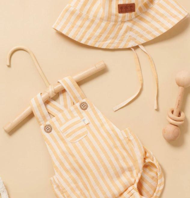 Purebaby Linen Blend Romper & Sun Hat